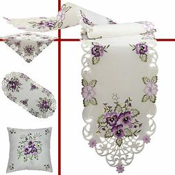 Pansy Table runner Doily Tablecloth Cushion cover Cream Purp