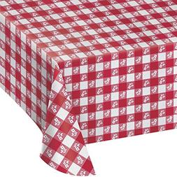 Creative Converting Paper Banquet Table Cover, Red Gingham