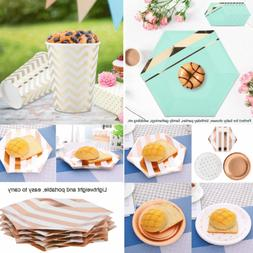 Paper Gold/Rose Gold Pattern Plate Fork Spoon Disposable Din