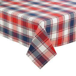 Patriotic Oval Tablecloth 60 x 84 inch Red White Blue Woven