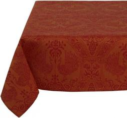 Mahogany Peacock 60-Inch by Orange/Red Square Tablecloth, Co