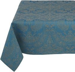 Mahogany Peacock 60-Inch by 90-Inch Teal Tablecloth, Cotton