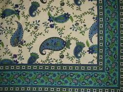 "Peddles and Paisley Print Cotton Tablecloth 88"" x 60"" Green"