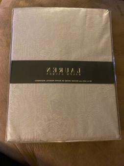 "Ralph Lauren Peyton Platinum Tablecloth 90"" Round"