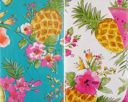 Pineapples, Watermelon and Tropical Flowers Vinyl Tablecloth