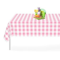 Pink Checkered Gingham 12 Pack Premium Disposable Plastic Ta