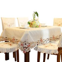 Pink Flower Embroidered Light Yellow Spring Floral Tableclot