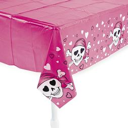 Pink Pirate Design Plastic Tablecover Tablecloth Decoration