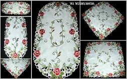 Pink roses tablecloth, table runner, doily with embroidered