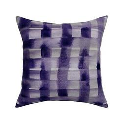 Plaid Hand Painted Watercolor Throw Pillow Cover w Optional
