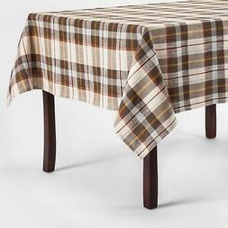 "Threshold Plaid Tablecloth Brown Blue Gold Multi  60"" x 84"""