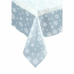 Plastic Clear Snowflake Christmas Tablecloth Size-7ft x 4.5f