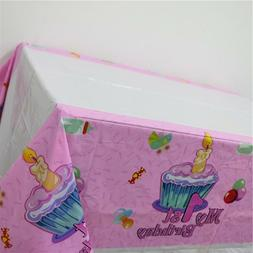 Plastic Disposable Tablecloth Pink 1st Birthday Table Cover
