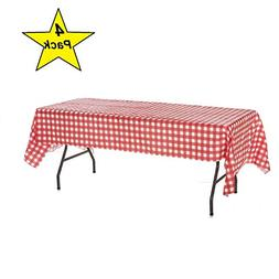 Oojami Pack of 4 Plastic Red and White Checkered Tablecloths