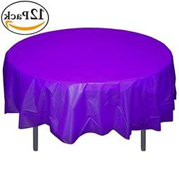 Exquisite 12-Pack Premium Plastic 84-Inch Round Tablecloth -