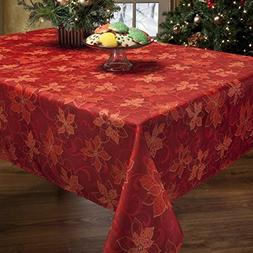 Benson Mills Poinsettia Scroll Printed Fabric Tablecloth, 60