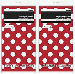 2 Pack Polka Dot Plastic Tablecloth, 108 x 54, Red with Whit
