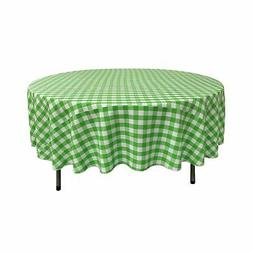 LA Linen Poly Checkered 90-Inch Round Tablecloth, Lime Green