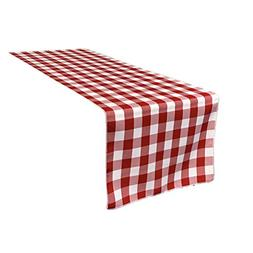 LA Linen Poly Checkered Table Runner, 14 by 108-Inch, Red/Wh