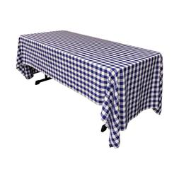 LA Linen Polyester Checkered 60 by 120-Inch Rectangular Tabl