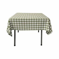 LA Linen Polyester Gingham Checkered 52 by 52-Inch Square Ta