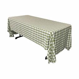 LA Linen Polyester Gingham Checkered 60 by 126-Inch Rectangu