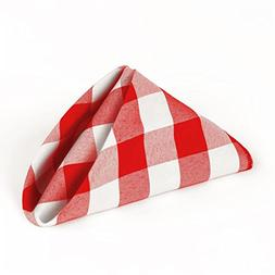LinenTablecloth 15-Inch Polyester Napkins  Red & White Check