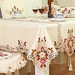 Polyester Round Embroidered Tablecover Table Cloth for Weddi