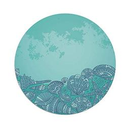 iPrint Polyester Round Tablecloth,Nautical,Marine Beauty She