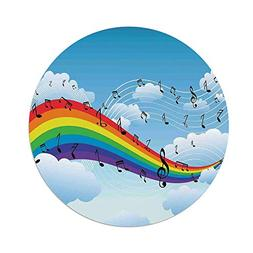 iPrint Polyester Round Tablecloth,Music Decor,Rainbow with M