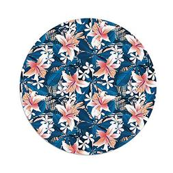 Polyester Round Tablecloth,Leaf,Singapore Plumeria and Tropi