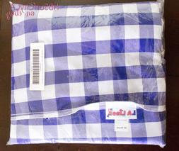 LA Linen Polyester White / Blue Gingham Checkered 90in Round