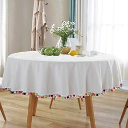 Amzali Pompom Tassel Tablecloth Cotton Linen Dust-Proof Tabl