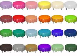"Premium Plastic Table Covers 84"" ROUND HEAVY DUTY TABLECLOTH"