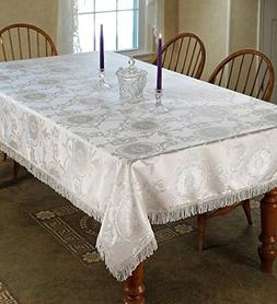 Prestige Damask Design Tablecloth White 60in by 120in Oblong