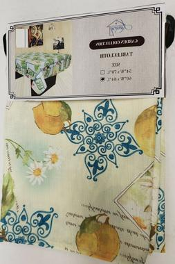 Printed Fabric Kitchen Tablecloth  Oblong, LEMONS & FLOWERS,