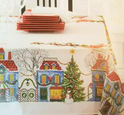 Printed Linen Tablecloth CHRISTMAS VILLAGE Oblong 52x70 Bens