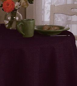 Purple Plum Round Tablecloth 90 inch Basketweave Woven for K