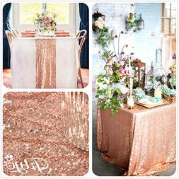 TRLYC 48X72-Inch Real Rose Gold Sequins Square Tablecloths a