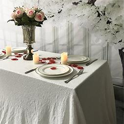 TRLYC 60 x 102-Inch Rectangle Sequin Tablecloth White for We