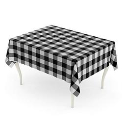 Emvency Rectangle Tablecloth 52 x 70 Inch Check Black and Wh