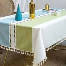 Rectangle Tablecloth Kitchen Dining Table Cover Cotton Linen