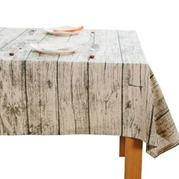JZY Rectangle Tablecloth, Retro Wood Looking Table Cloth for