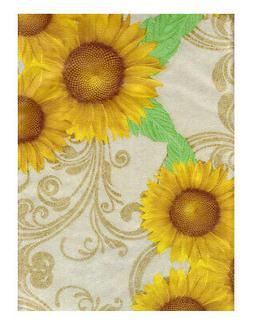 Rectangle Tablecloth Vinyl Flannel Backed Sunflower Floral D