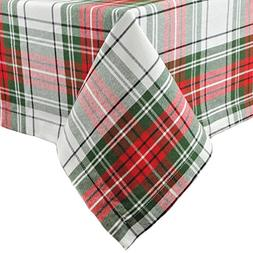 "Christmas Plaid Square Tablecloth, 100% Cotton with 1/2"" Hem"