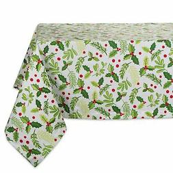 "DII 52x52"" Square Cotton Tablecloth, Boughs of Holly - Perfe"