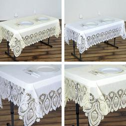 RECTANGULAR PLASTIC TABLECLOTH with Crocheted Lace Catering