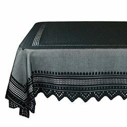 "DII 52x90"" Rectangular Polyester Lace Tablecloth, Black Nord"