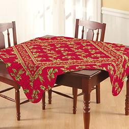 """68x102"""" Rectangular Quilted Tablecloth, Holly Red, Christmas"""