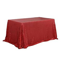 TRLYC 60 x 120-Inch Rectangular Sequin Tablecloth Red